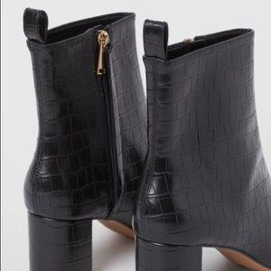 H&M Black Croc Block Heel Ankle Booties